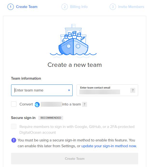 DigitalOcean创建团队